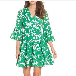 Eliza J Bell Sleeve Faux Wrap Dress Green Floral